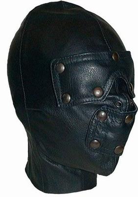 Lederen slaven masker met verwijderbare oog en mondstukken