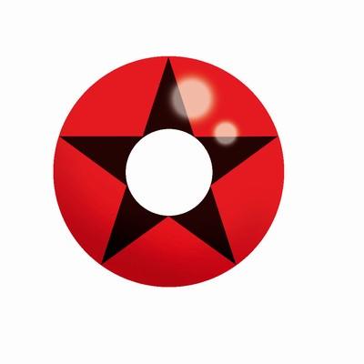 Funlenzen, TerrorEyes contactlenzen, Red & Black Star