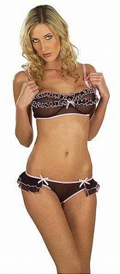 2-delige lingerie set, zwart met roze