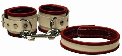 Handboeien en Halsband, Rood met wit - Zustersetje