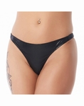 Lederen damesslip G-String, small/medium, zwart