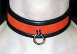 Leer / Nubbuck Collar met ring - Rood