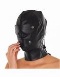 Lederen masker met afneembare oog- en mond delen